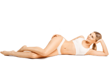 Woman in underwear lay down after laser skin treatment on Harley Street